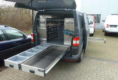 Nordsysteme - Aluca-Fahrzeugeinrichtung-Unterflur-VW-T5, werkstattwagen