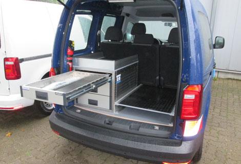 Nordsysteme - Aluca-Fahrzeugeinrichtung-VW-Caddy-Kofferraum,werkstattwagen