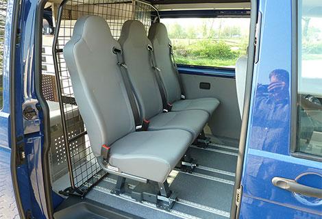 Nordsysteme - Sonderfahrzeuge, Zusatzsitze auf Aluminiumboden, T5, T6
