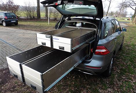 Nordsysteme - Sonderfahrzeuge, Tierarztfahrzeug Mercedes ML mit Aluca-Fahrzeugeinrichtung