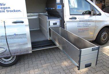 Nordsysteme - Sonderfahrzeuge, Aluca-Schwerlastschublade im Mercedes Vito, Unterflurmontage